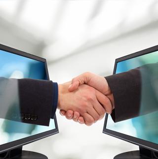 hand shake through computer screens